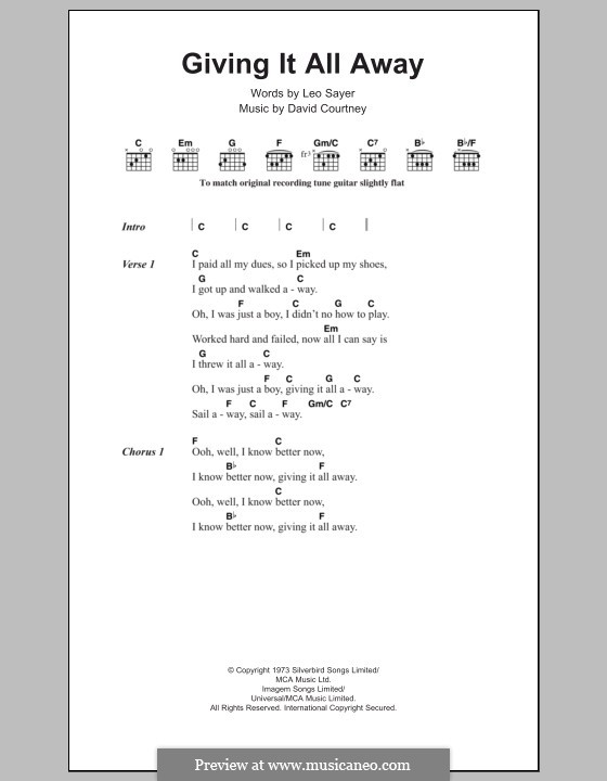 Giving It All Away: Lyrics and chords by David Courtney