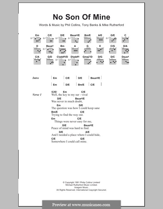 No Son of Mine (Genesis): Lyrics and chords by Tony Banks, Mike Rutherford, Phil Collins