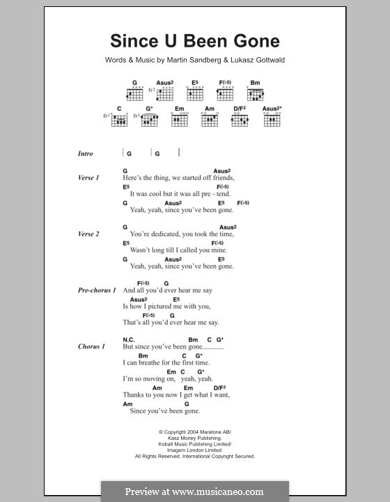 Since U Been Gone (Kelly Clarkson): Lyrics and chords by Lukas Gottwald, Max Martin