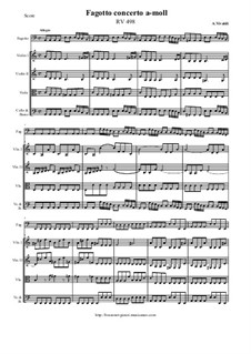 Concerto for Fagotto and Strings in A Minor, RV 498: Score and all parts by Antonio Vivaldi