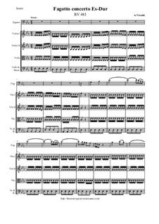 Concerto for Fagotto and Strings in E Flat Major, RV 483: Score and all parts by Antonio Vivaldi