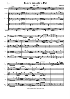 Concerto for Fagotto and Strings in C Major, RV 478: Score and all parts by Antonio Vivaldi