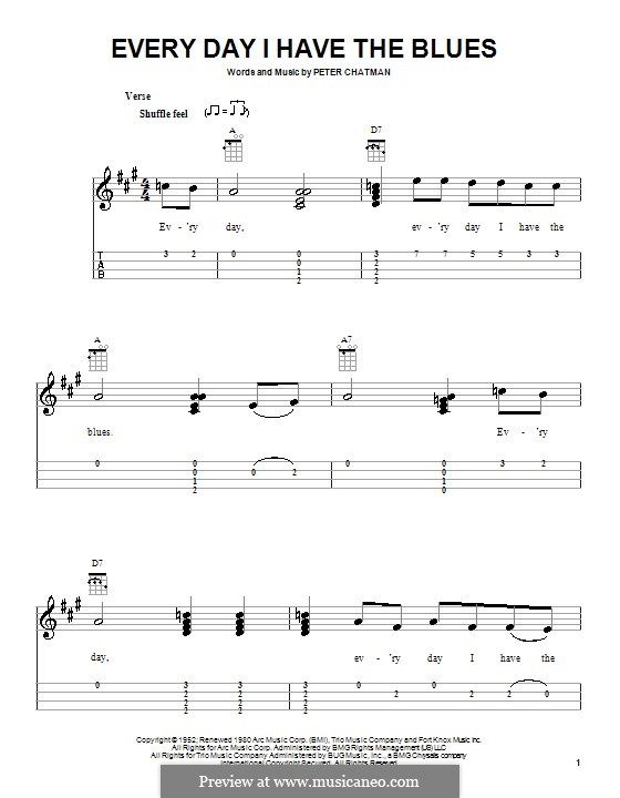 Everyday I Have the Blues: For ukulele by Peter Chatman