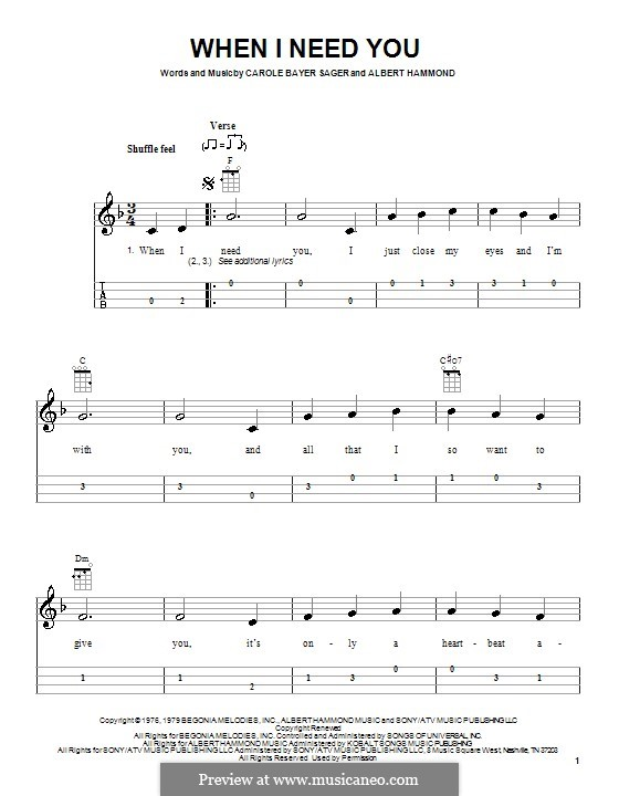 When I Need You (Celine Dion): For ukulele by Albert Hammond
