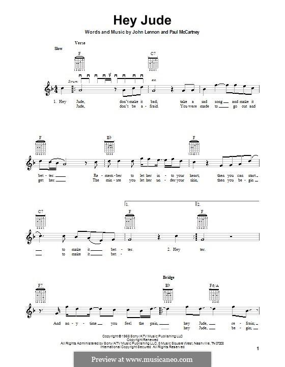 Hey Jude (The Beatles): For electric guitar by John Lennon, Paul McCartney