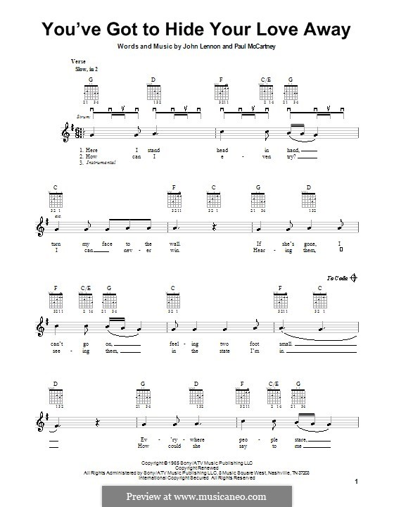 You've Got to Hide Your Love Away (The Beatles): For electric guitar by John Lennon, Paul McCartney