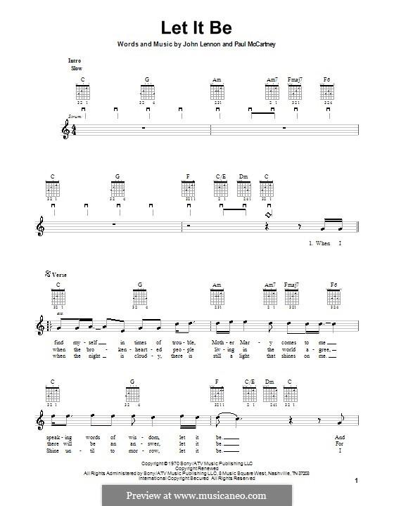 Let it Be (The Beatles): For electric guitar by John Lennon, Paul McCartney