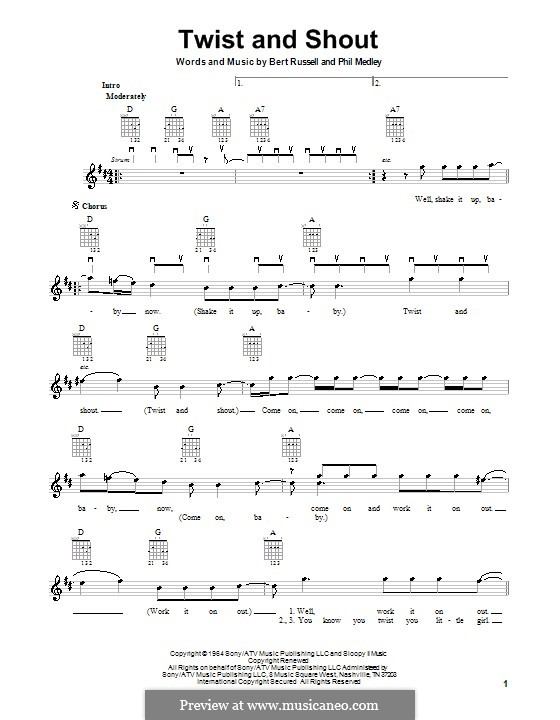 Twist and Shout (The Beatles): For electric guitar by Bert Russell, Phil Medley