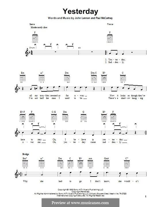 Yesterday (The Beatles): For electric guitar by John Lennon, Paul McCartney