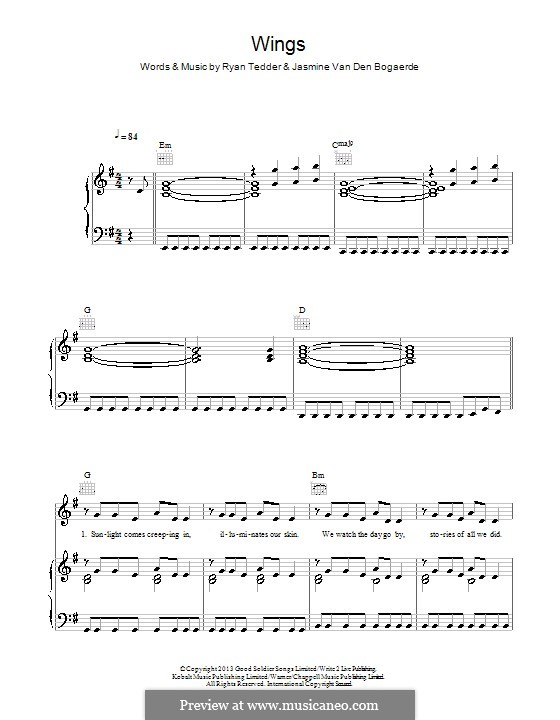 Wings: For voice and piano (or guitar) by Birdy, Ryan B Tedder