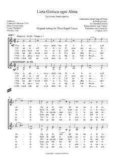 Italian Carol: Lieta Gioisca ogni Alma - SSA voices: Italian Carol: Lieta Gioisca ogni Alma - SSA voices by Unknown (works before 1850)