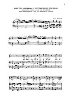 Arie der Konstanze 'Martern aller Arten': Piano-vocal score (German and Hungarian) by Wolfgang Amadeus Mozart
