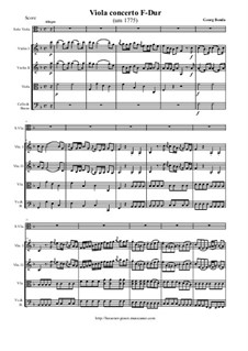 Concerto for Viola and Strings in F Major: Score and all parts by Jiří Antonín Benda