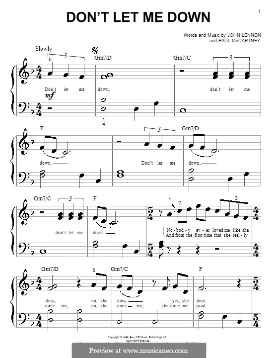 Don't Let Me Down (The Beatles): For piano by John Lennon, Paul McCartney