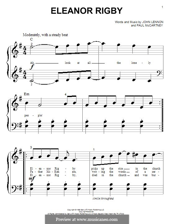 Eleanor Rigby (The Beatles): For piano by John Lennon, Paul McCartney