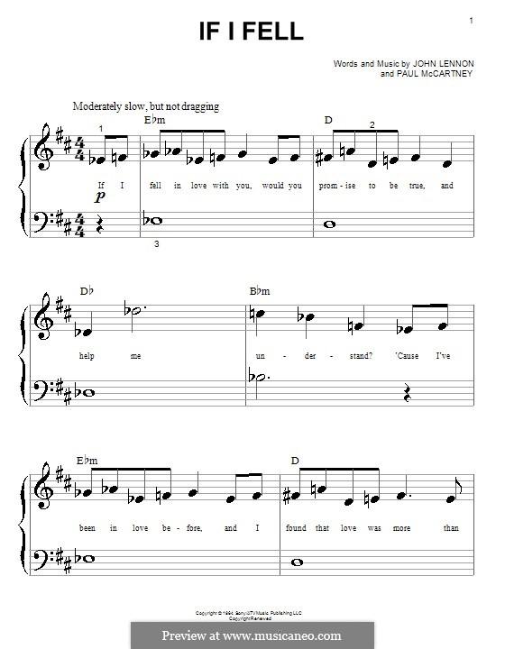 If I Fell (The Beatles): For piano by John Lennon, Paul McCartney