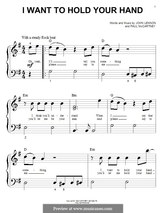 I Want to Hold Your Hand (The Beatles): For piano by John Lennon, Paul McCartney