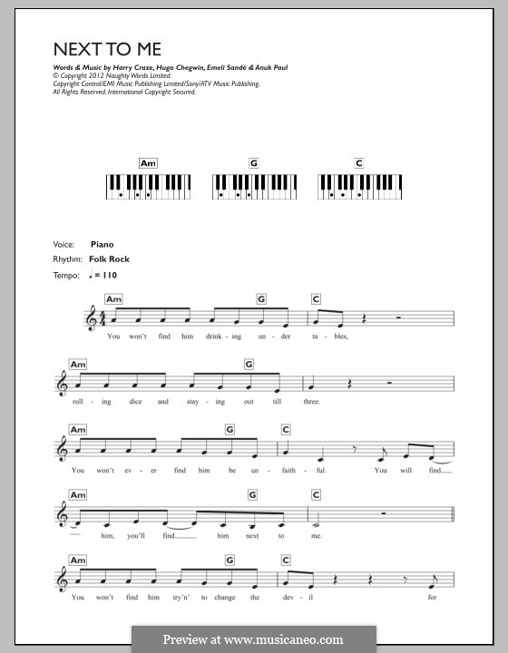 Next to Me: For keyboard by Emeli Sandé, Harry Craze, Hugo Chegwin, Anup Kumar Paul