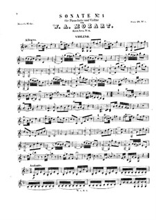 Sonata for Violin and Piano No.1 in C Major, K.6: Score, solo part by Wolfgang Amadeus Mozart