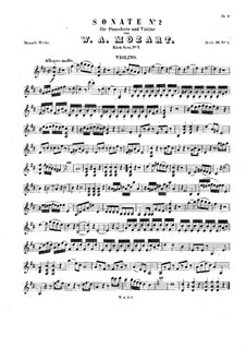 Sonata for Violin and Piano in D Major, K.7: Score, solo part by Wolfgang Amadeus Mozart