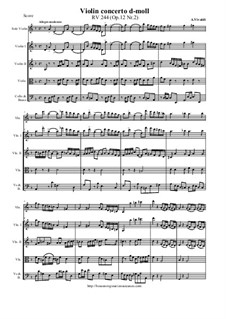Concerto for Violin and Strings in D Minor, RV 244 Op.12 Nr.2: Score and all parts by Antonio Vivaldi