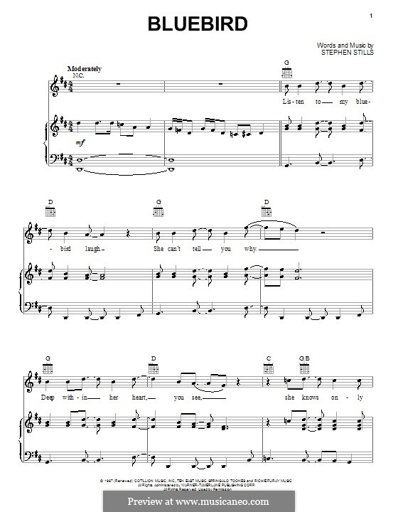 Bluebird (Buffalo Springfield): For voice and piano (or guitar) by Stephen Stills
