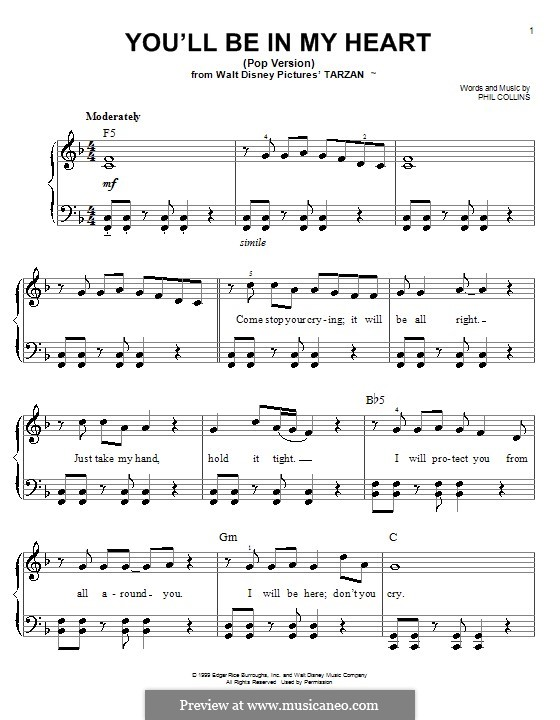 You'll Be in My Heart (from Walt Disney's Tarzan): For piano by Phil Collins