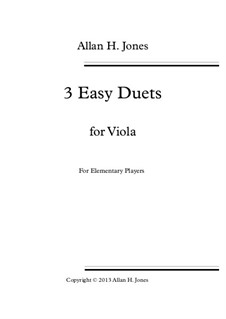 3 Easy Duets: For viola by Allan 'Herbie' Jones