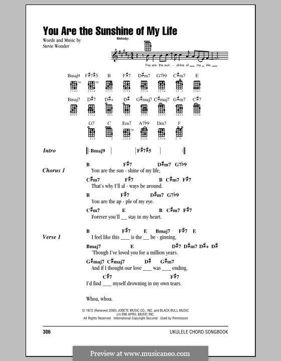 You Are The Sunshine Of My Life By S Wonder Sheet Music On Musicaneo
