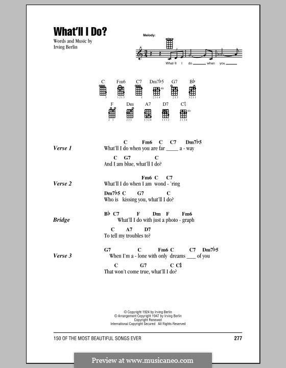What'll I Do? (from Music Box Revue of 1924): For ukulele by Irving Berlin