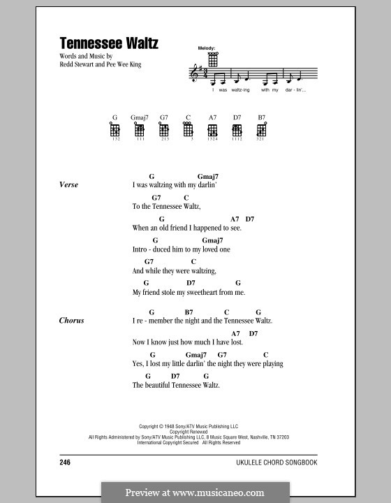 Tennessee Waltz (Patty Page): For ukulele by Pee Wee King, Redd Stewart