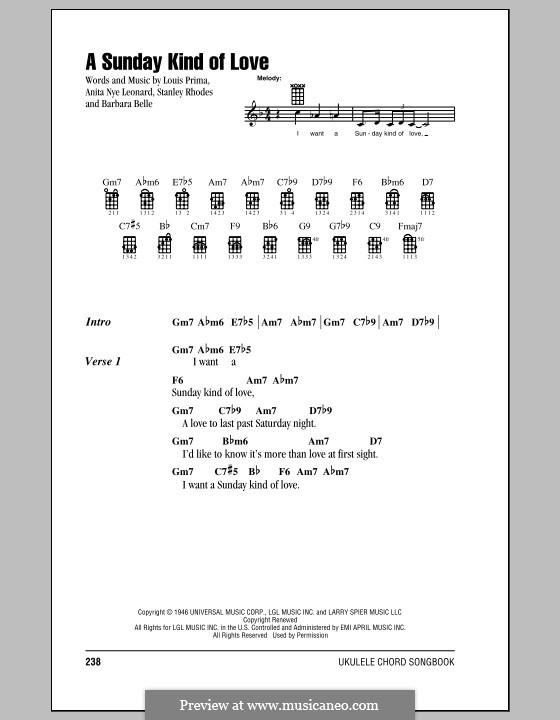 A Sunday Kind of Love: For ukulele by Anita Leonard, Barbara Belle, Louis Prima, Stan Rhodes