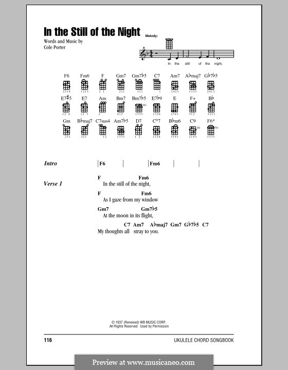 In the Still of the Night: For ukulele by Cole Porter