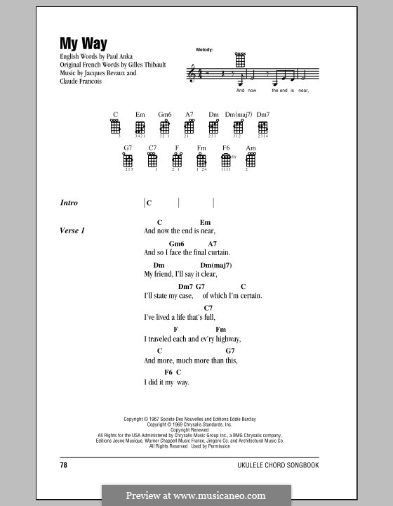 My Way: For ukulele by Claude Francois, Jacques Revaux