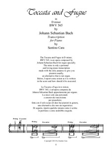 Toccata and Fugue in D Minor, BWV 565: Transcription for piano by Johann Sebastian Bach