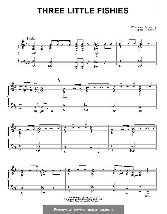 Three Little Fishes: For piano by Saxie Dowell