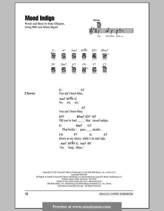 Mood Indigo: For ukulele by Irving Mills, Albany Bigard, Duke Ellington