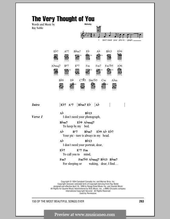 The Very Thought of You: For ukulele by Ray Noble