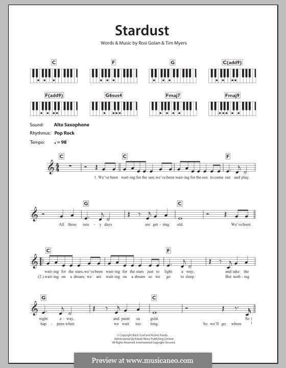Stardust (Lena Meyer-Landrut): For keyboard by Rosi Golan, Tim Myers