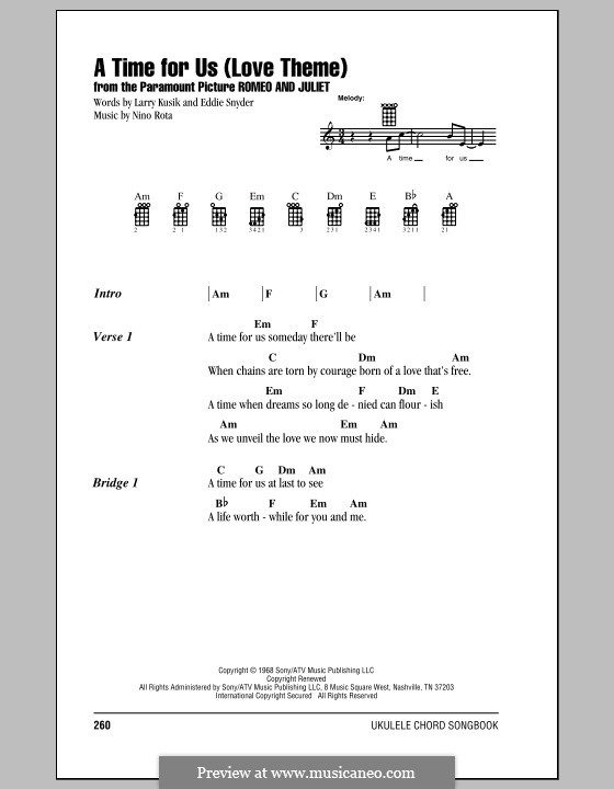 A Time for Us (Love Theme from Romeo and Juliet): For ukulele by Nino Rota