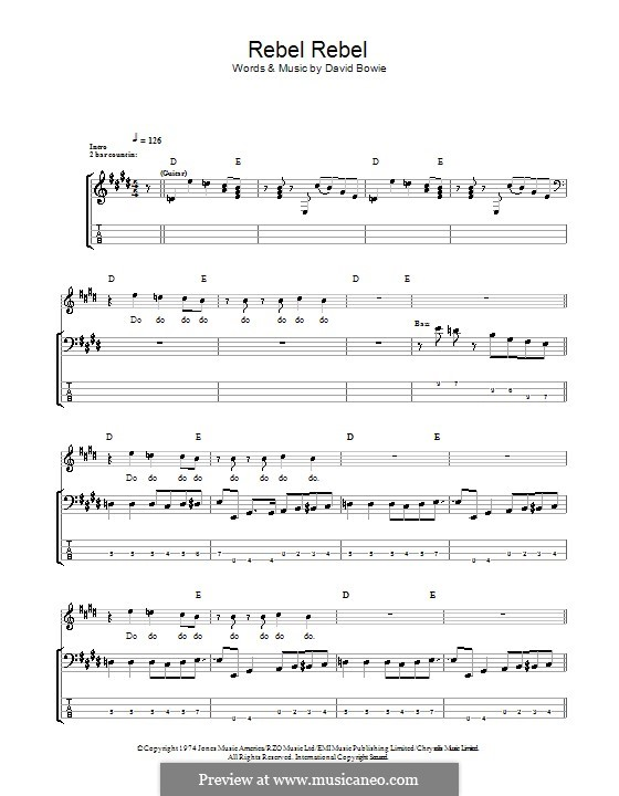 Rebel Rebel: For bass guitar with tab by David Bowie