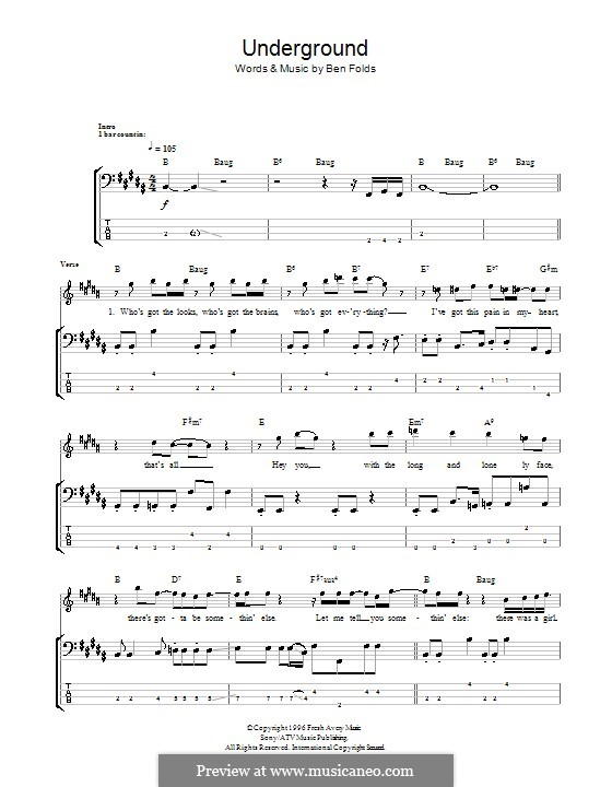 Underground (Ben Folds Five): For bass guitar with tab by Ben Folds