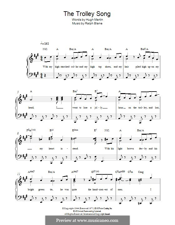 The Trolley Song (from Meet Me in St. Louis): For piano by Hugh Martin, Ralph Blane