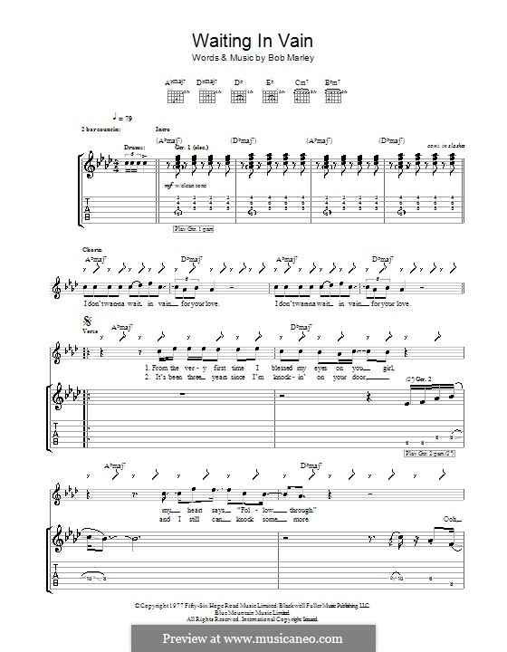 Waiting in Vain: For guitar with tab by Bob Marley