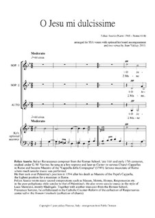 O Jesu mi dulcissime: Motet for SSA voices and keyboard by Felice Anerio