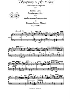 Sinfonia in G Major, Si 8: Transcription for piano by Tomaso Albinoni