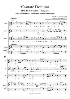 Cantate Domino for 3 a cappella voices or instruments: Cantate Domino for 3 a cappella voices or instruments by Orlande de Lassus