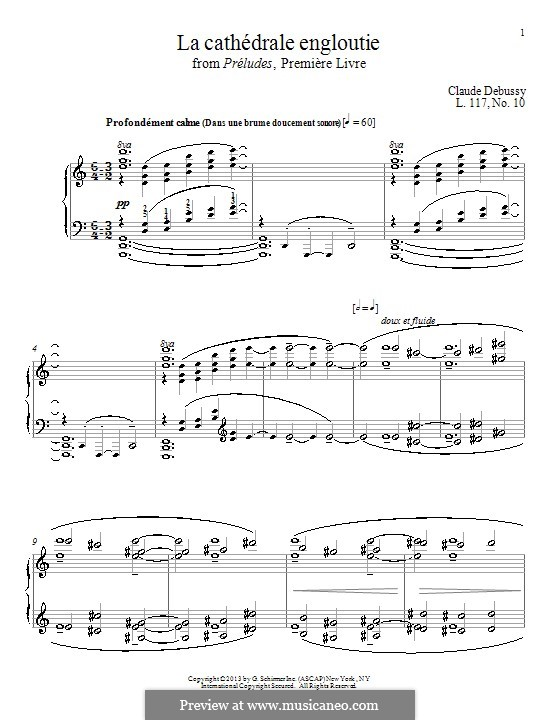 No.10 La cathédrale engloutie: For piano by Claude Debussy