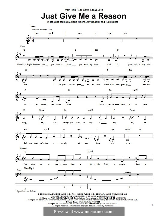 Just Give Me a Reason (Pink): For bass guitar with tab by Alecia Moore, Jeff Bhasker, Nathaniel Ruess
