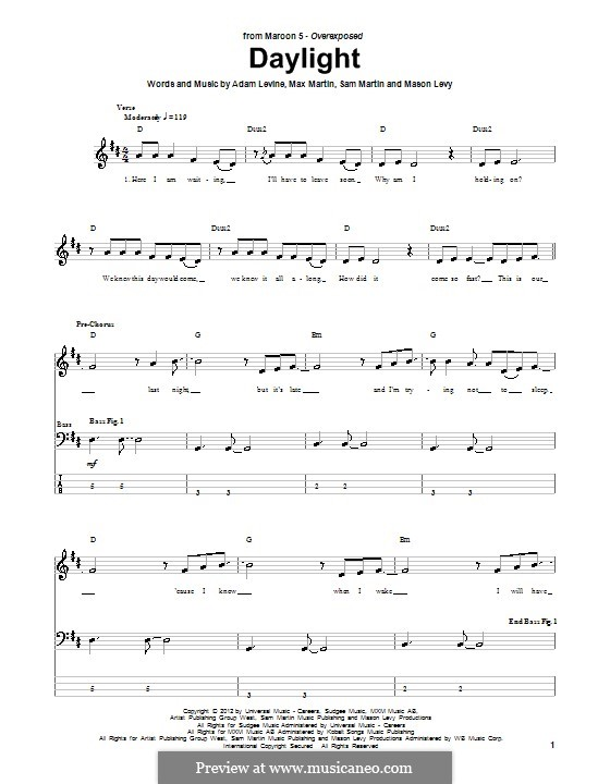 Daylight (Maroon 5): For bass guitar with tab by Adam Levine, Mason Levy, Max Martin, Sam Martin
